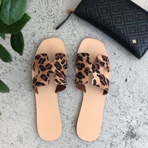 sewchicboutique Shoes - Leopard Print Summer Slide Sandals
